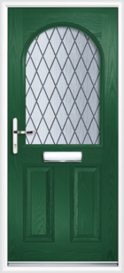 2 Panel Half Arch Diamond Composite Door Green