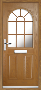 2 Panel Half Arch Georgian Glazed Composite Door Oak