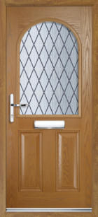 2 Panel Half Arch Diamond Composite Door Oak