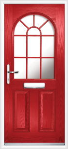 2 Panel Half Arch Georgian Glazed Composite Door Red