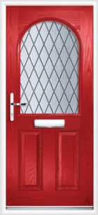 2 Panel Half Arch Diamond Composite Door Red
