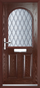 2 Panel Half Arch Diamond Composite Door Rosewood