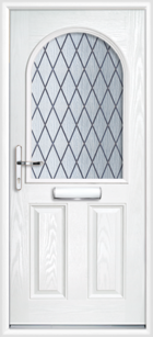 2 Panel Half Arch Diamond Composite Door White