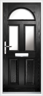 2 Panel 3 Half Moon Glazed Composite Front Door Black