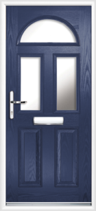2 Panel 3 Half Moon Glazed Composite Front Door Blue