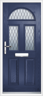 2 Panel 3 Half Moon Diamond Composite Front Door Blue