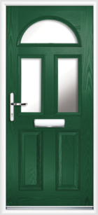 2 Panel 3 Half Moon Glazed Composite Front Door Green