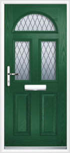 2 Panel 3 Half Moon Diamond Composite Front Door Green