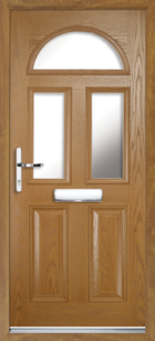 2 Panel 3 Half Moon Glazed Composite Front Door Oak