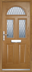 2 Panel 3 Half Moon Diamond Composite Front Door Oak