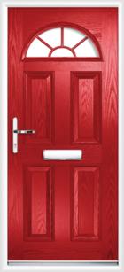 4 Panel Half Moon Georgian Composite Door Red