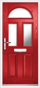 2 Panel 3 Half Moon Glazed Composite Front Door Red