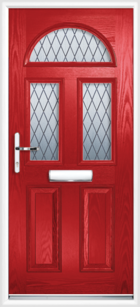 2 Panel 3 Half Moon Diamond Composite Front Door Red