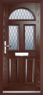 2 Panel 3 Half Moon Diamond Composite Front Door Rosewood