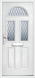2 Panel 3 Half Moon Diamond Composite Front Door White
